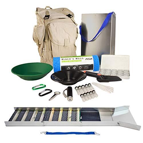 ASR Outdoor Deluxe Aluminum Folding Sluice Box Backpack Kit Gold Prospecting