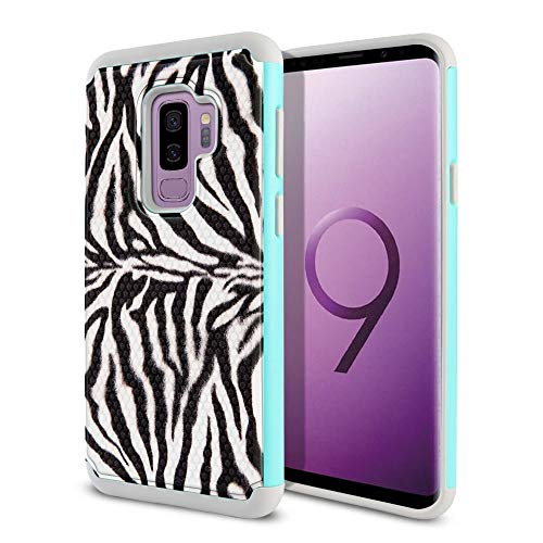 FINCIBO Case Compatible with Samsung Galaxy S9 Plus 6.2 inch, Dual Layer Football Skin Hybrid Protector Case Cover Anti-Shock TPU for Galaxy S9 Plus (NOT FIT S9) - Zebra Stripes Skin Pattern