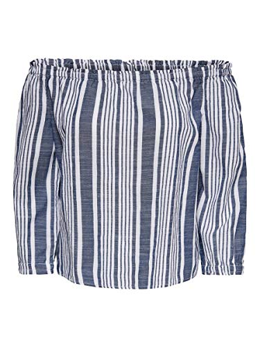 ONLY Damen ONLLAVANA 3/4 Off Should DNM Top, Weiß (Cloud Dancer Stripes: Dark Blue), X-Large (Herstellergröße: 42)