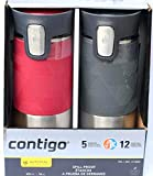 Contigo ContigoTravel Autoseal Stainless Steel Spill-Proof Travel Mug, 2 pk, Pinot Noir & Gray