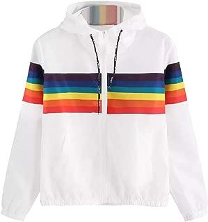 Sinfu Womens Long Sleeve Rainbow Patchwork O Neck Sweatshirt Hooded Overcoat Blouse