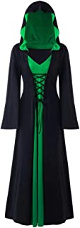 FORUU Halloween Dresses for Women Comfy Personality Casual Hooded Longsleeve Cut Out Long Maxi Novely Dress