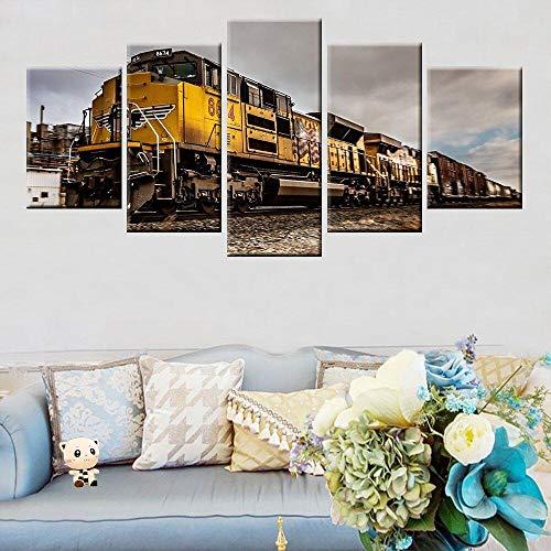 IKDBMUE Cuadro en Lienzo Tren clásico 5 Piezas - Impresión en Lienzo - Ancho: 200cm, Altura: 100cm - Listo para Colgar - en un Marco