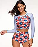 UR MAX BEAUTY Frauen Langarm Rash Guard Split Badeanzug, Sonnencreme Fashion Print Zum Surfen, Schnorcheln, Schwimmen, Kajakfahren -