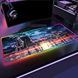 Anime Sword Art Online Character Asuna Yuuki Kirito RGB Gaming Mouse pad Bright LED Gaming Desk pad 31.5x11.8 in - XXL Mousepad - Keyboard mat 1.8M Cable Included - 14 Lighting Modes 400x900mm_Color_B