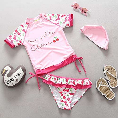 QIAODOUMADAI Maillot de Bain Enfant Maillot de Bain bébé Fille Maillot de Bain Manches Courtes Rose Cerise Imprimer Prougeection UV Filles Bikini Tankini Costume Deux Pièces,80
