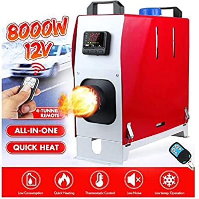 boomprospect 12V 8KW Diesel Air Heater Forced Air Parking Heater | All in One Heater with Remote Controller & LCD Thermostat Monitor for RV,Vans,Trucks,Motorhome Trailer,Boats - Red/White from boomprospect