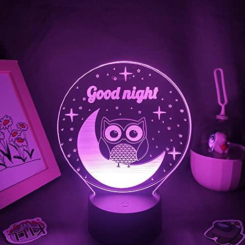 Figura de anime Lámpara de búho con diseño de estrellas 3D LED Neon S RGB Sleep Night Lights Regalo de cumpleaños para niños dormitorio mesita de noche Decoración - Control remoto