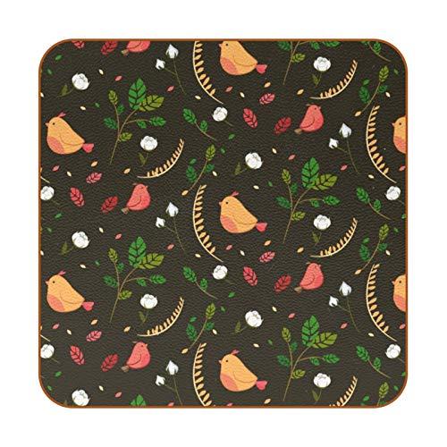 Posavasos de piel sintética con hojas verdes, 6 unidades, cuadrados, para uso en casa o bar, regalo de inauguración de la casa