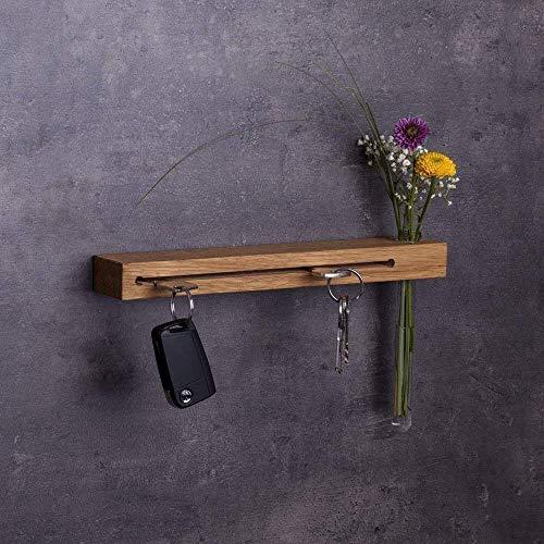 Woods Schlüsselbrett mit Vase I Nut - Schlüsselhalter modern I Wanddekoration aus Holzhandgefertigt in Bayern I Schlüsselboard Holz mit Reagenzglas I Schlüsselleiste mit Ablage 30cm lang Eiche