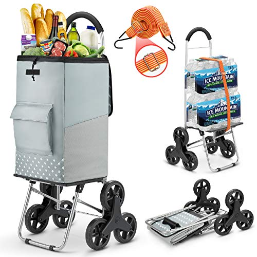 commercial stair climbing carts Shopping cart, sturdy staircase cart 220 pounds Grocery cart with a large gray shopping bag Folding shopping cart with adjustable elastic cord