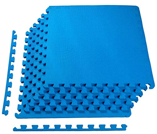 """BalanceFrom Puzzle Exercise Mat with EVA Foam Interlocking Tiles, 1/2"""" Thick, 24 Square Feet, Blue"""