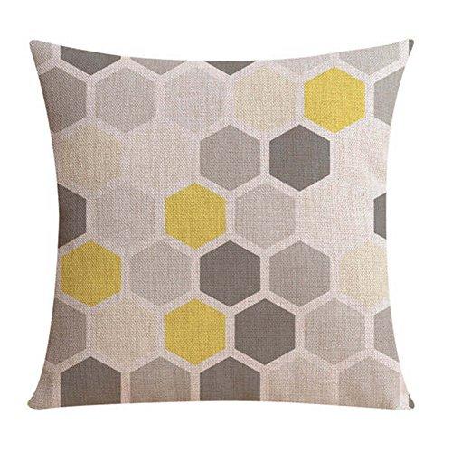 Inconnu Sunone11 géométrique Nid d'abeille hexagonale Motif Taie d'oreiller Coussin Housse de Protection carré 43,2 x 43,2 cm pour canapé Canapé