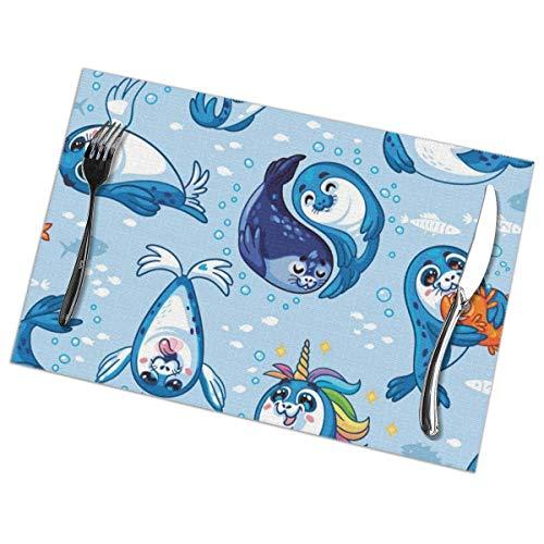 GIERTER Naadloos patroon met schattige babyzegel Cartoon Placemats Set van 6 stuk wasbaar polyester voor eettafel decoraties matten