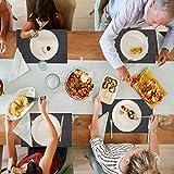 Platzset, QTTO Tischset(6er Set), rutschfest Platzdeckchen, PVC Abgrifffeste Hitzebeständig Platzsets Abwischbar, Tischsets Abwaschbar für Restaurants und Küchen(30 x 45 cm, Dunkel Grau) - 7