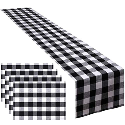 JUSTDOLIFE Tafel Runner Decoratieve Plaid Diner Tafel Decoratie Dressoir Sjaal met 4 Placemats