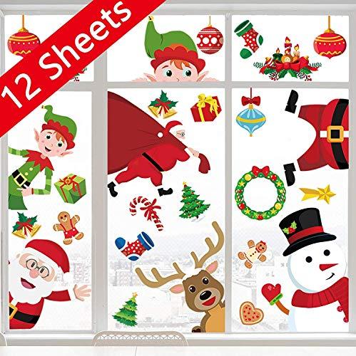 90shine Christmas Window Clings Snowflake Decorations - Winter Wonderland Xmas Party Supplies - Santa Claus Elf Reindeer Peeking Decals 62pcs
