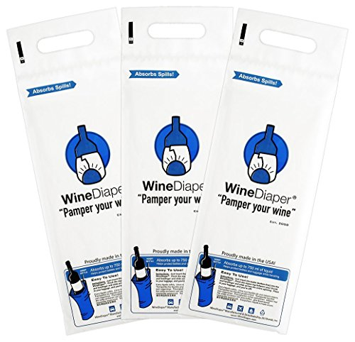 Wine Diaper - Reusable, Protective and Absorbent Wine Bottle Bags for Travel (3 pack) Made in the USA