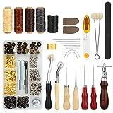 Kit Couture pour le Cuir 28 pcs, Set FIXM de 28 outils pour Coudre le Cuir avec Poinçon, Rainette, Fil à Coudre Ciré, des à Coudre et autres Accessoires, Ensemble d'outils de Couture à la Main