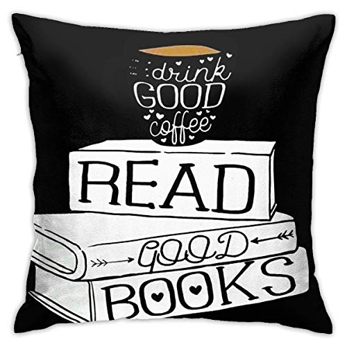 wteqofy Velvet Pillow Covers Drink Good Coffee Read Good Books Pillow Cases Decorative Square Pillowcase Soft Cushion Case for Sofa Bedroom Car 18 X 18 Inch