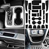 LAIKOU for Chevy Colorado and GMC Canyon 2015-2021 Custom Liner Accessories – Premium Cup Holder, Console, and Door Pocket Inserts 26-pc Set (Solid Black)