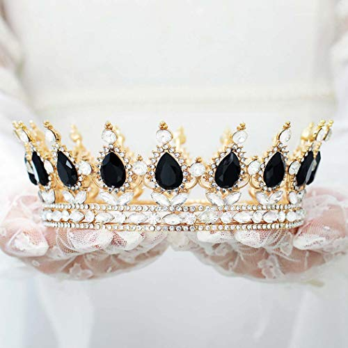 Harosy Black Baroque Crowns and Tiaras Crystal Rhinestone Wedding Crowns for Bride Vintage Decorative Bridal Queen Tiaras Costume Halloween Hair Accessories for Women and Girls (Black+Gold)