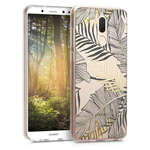 kwmobile Hülle kompatibel mit Huawei Mate 10 Lite - Hülle Handy - Handyhülle Dschungel Gold Grau Transparent