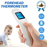 Forehead Thermometer,Infrared Digital Thermometer Professional Precision Non Contact Medical Thermometer with LCD Backlit Display Accurate Forehead and Ear Thermometer for Baby Kids and Adults White