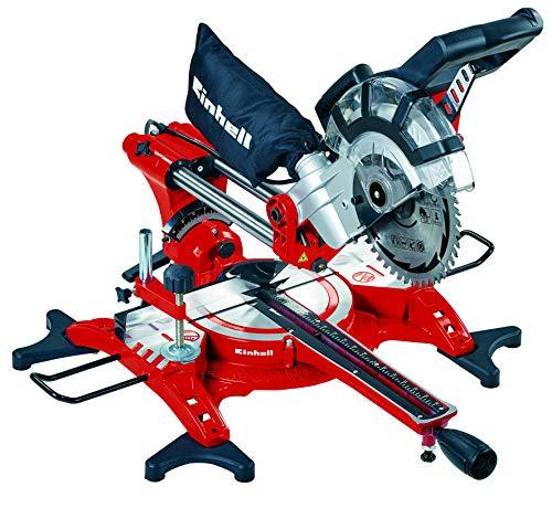 Einhell Ingletadora TC-SM 2131/1 Dual (máx. 1.800 W, 4.900 min-1, función de tracción integrada, tope de pieza, dispositivo de sujeción, incl. hoja de sierra de carburo de tungsteno, láser)