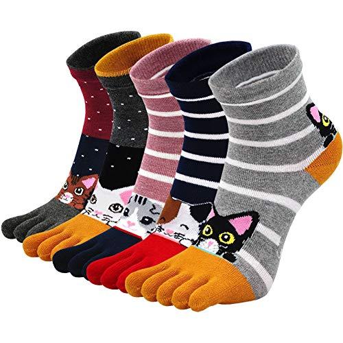 PUTUO Zehensocken Damen Fünf Finger Socken aus Baumwolle, Damen Sneaker Socken mit Zehen für Sport Laufende Freizeit, Lustige Socken Damen Bunte Witzige Tier Socken