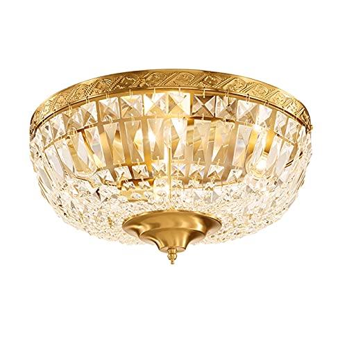 Iluminación de techo Lámpara de techo de latón antiguo, pantalla de cadena de cristal de lujo, minimalista retro redondo sala de estar...