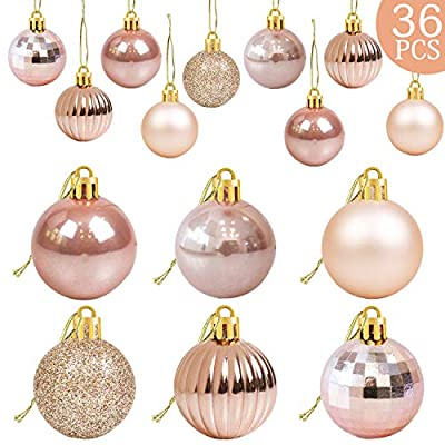 36Pcs Rose Gold Christmas Balls Ornaments for Xmas Tree - Christmas Tree Ornaments - Christmas Decorations- Christmas Tree Baubles Ornaments - Xmas Party Supplies Decorations- Christmas Holiday Decor