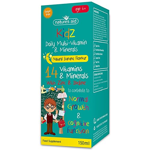 Natures Aid Kids Multi-Vitamin and Minerals Formula for Children (150 ml, Natural Banana Flavour, Sugar Free, Vegan Society Approved, Made in the UK) 6 Years Plus