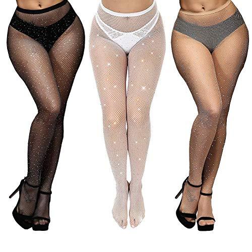 Merclix 3 Paar Glitzer Strumpfhosen Damen Mit Strass, Overknee Strümpfe Netzstrumpfhose Schwarz Set, Schwarz Weiß Hautfarbener