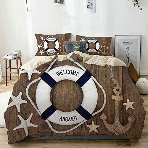 Juego de funda nórdica beige, salvavidas, ancla, estrella de mar, conchas marinas sobre fondo de roble viejo, estilo de vida marino, juego de cama decorativo de 3 piezas con 2 fundas de almohada, fáci