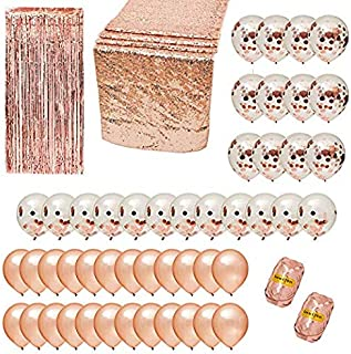 HOT SALE! Rose Gold Party Decorations-Holiday-Christmas-Baby Shower-Bridal Shower-Bachelorette-Wedding-Birthday-Graduation-52 Pc Party Set Balloons/Table Runner/Rose Gold Fringe Curtain/2 Pack Ribbon