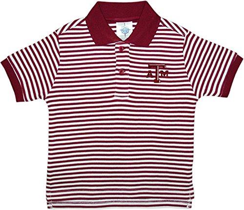 Texas A&M University Aggies Striped Polo Shirt by Creative Knitwear, Maroon/White, 4T