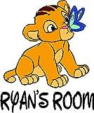 Lion King Disney Movie Cartoon Children Custom Personalized Name Sticker Animated Movie Disney Wall Decals for Kids Bedroom / Boys Wall Decor Vinyl Sticker Art Simba Zazu Size 20x20 inch