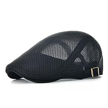 VOBOOM Men Breathable Mesh Summer Hat Adjustable Newsboy Beret Ivy Cap Cabbie Flat Cap  Black