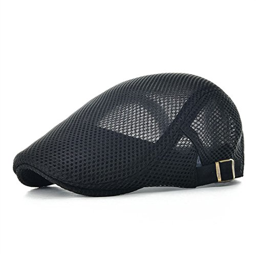 VOBOOM Men Breathable Mesh Summer Hat Adjustable Newsboy Beret Ivy Cap Cabbie Flat Cap (Black)
