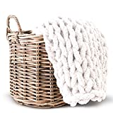 Lake Island Chunky Chenille Blanket NO Shedding Super Soft Handmade 50'x60' Luxurious Chunky Knit Throw for Bed or Sofa Large Chunky Knit Chenille Blanket Home Decor Thick Chunky Knit Blanket Cream