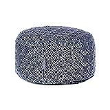 Celina Digby® Cojín de diseño de rueda redonda Zafu para meditación Zen y yoga grado A, funda de terciopelo + interior 100% algodón relleno generosamente con rueda de cascos de trigo sarraceno orgánico, Azulejo japonés, 30/16cm