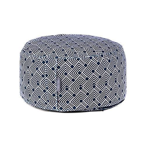 Celina Digby Cojín de diseño de rueda redonda Zafu para meditación Zen y yoga grado A, funda de terciopelo + interior 100% algodón relleno generosamente con rueda de cascos de trigo sarraceno orgánico, Azulejo japonés, 30/16cm