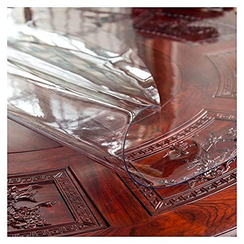 Okrągły obrus do domu, wodoodporny pokrowiec na stół z PCW, podkładki ochronne o grubości 1 mm, zmywalny odporny na wysoką temperaturę obrus, używany do mebli, biurka, na piknik, przezroczysty, 150 cm / 59 cali