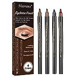 Lápiz de Cejas, Eyebrow Pencil, Eyebrow Tattoo Pen, Lápiz de Cejas Líquido 3D, con cuatro puntas duraderas, larga duración, impermeable, aspecto natural, 4Pcs