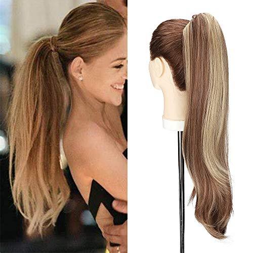 Silk-co 55cm Coda Clip Capelli Finti con Pinza Ponytail Hair Extension Clip Capelli Lisci Naturali Coda Sintetica-Marrone Chiaro Mix Biondo