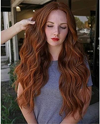 L&B-MR Pelucas elegantes para las mujeres europeas y americanas peluca de las mujeres de la moda marrón medio pelo rizado, onda grande peluca headgear mejor opción de regalo