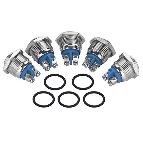 5 piezas 16 mm 250 V Interruptor de botón de metal Restablecimiento automático de la cabeza 3A (cabeza convexa)
