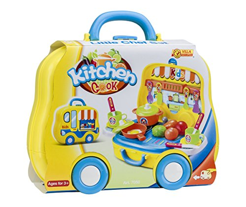 VILLA GIOCATTOLI 7050 Big Dreams Set Little Chef-Yellow koffer met wieltjes, eenheidsmaat, meerkleurig