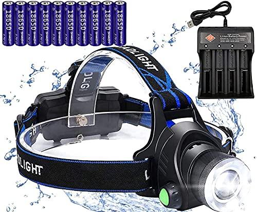 Linterna frontal LED, recargable por USB, resistente al agua, IPX4, apto para correr, camping, senderismo y pesca, faros para adultos, niños, con 10 baterías 18650, 1 cargador de batería USB